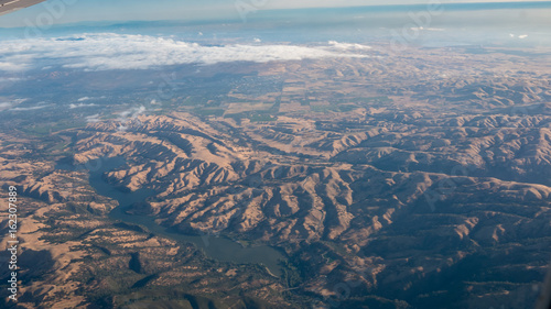 Aerial View of Mountain System in California