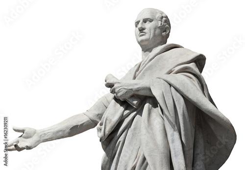Cyceron, starożytny rzymski senator statua (odizolowywający na białym tle)