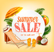 Summer Sale Template Vector Banner With Colorful Beach Elements. Design For Promotion.