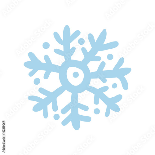 Winter snowflake hand drawn icon isolated on white background vector illustration. Northern ethnic culture element vector illustration.
