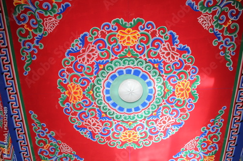 Colorful Tibetan Monastic decoration in a Monastery in Qinghai China Asia Poster