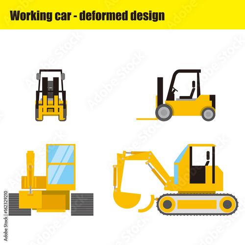 働く車のイラスト|フォークリフト・ショベルカー - 162329210