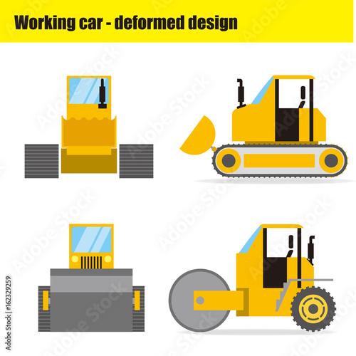 働く車のイラスト|ブルドーザー・ロードローラー - 162329259