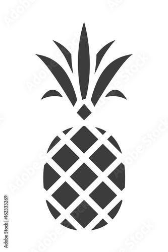 Sylwetka ananasa. Modna Tropikalna Ikona. Wektor.