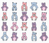Vector icon set of teddy bears against white background