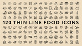 Big Set of 120 Thin Line Stroke Food Icons. Meat, milk, seafood, pasta, soup, bread, egg, cake, sweets, fruits, vegetables, drinks, nutrition, pizza, fish, sauce, cheese, butter, pie, nuts, snacks - 162345274
