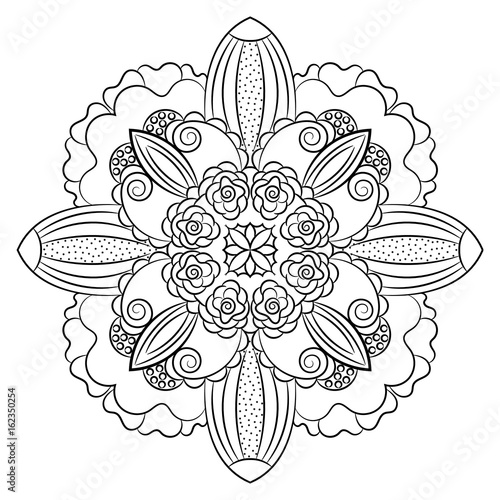 Black white isolated hand drawn mandala, coloring book print element, vector ornament