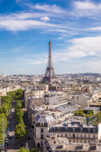 Summer view of Paris with Eiffel tower  Photo by Evgeny