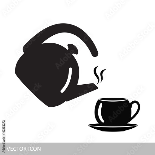 A kettle and a cup. Hot drinks. A vector icon in the style of a flat design.