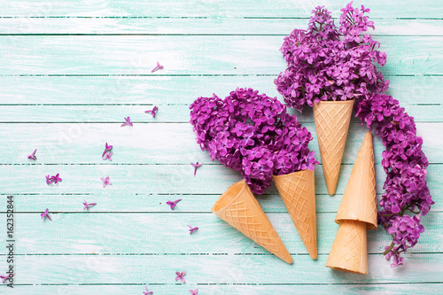 Fresh lilac flowers in waffle cones on turquoise painted wooden background.