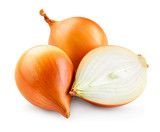 Fresh onion bulbs isolated on white background. With clipping path. Full depth of field.