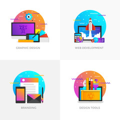 Flat Designed Concepts - Graphic design, Web development, Branding and Design tools