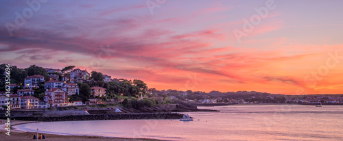 Panorama of Saint Jean de Luz beach at sunset, France - 162356696