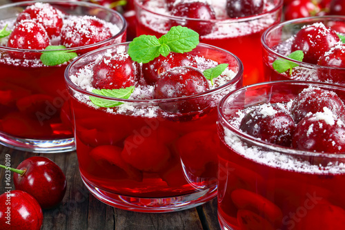 cold summer dessert of sweet cherry