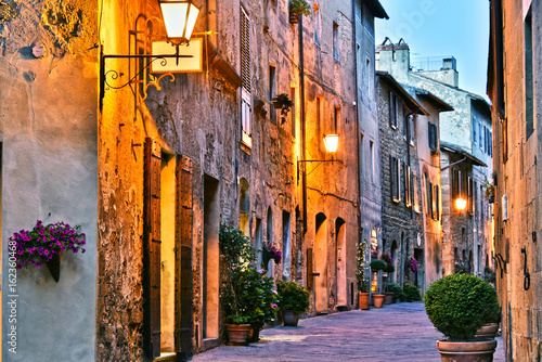 Architecture of historic center of Pienza in Tuscany, Italy. - 162360468