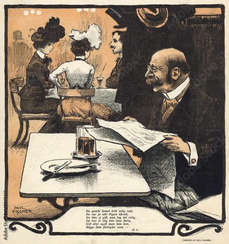 Poster Danish Cafe Scene 1901. Date: 1901