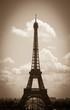 Eiffel tower and Parisian landscape. Sepia. Vignette.
