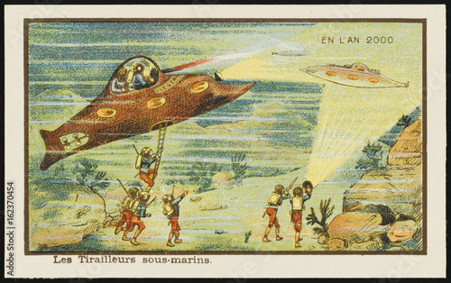 Fotobehang UFO Futuristic underwater warfare. Date: 1899