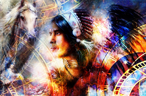 indian warrior wearing a gorgeous feather headdress. Indian spirit and time concept with zodiac and hose with eagle. Cosmic background. profile portrait.