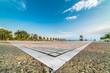 Park at Port of Thessaloniki, Paralia, Greece - Wide lens shot symmetrical