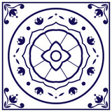 Blue white tile vector. Delft dutch or portugal tiles pattern with indigo and white ornaments. - 162379435