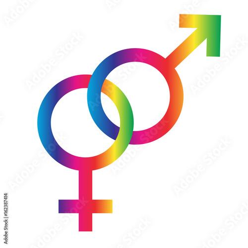 Interlocking Rainbow Male Female Symbols Buy Photos Ap Images