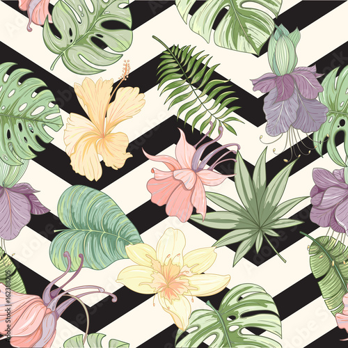 Seamless tropical palm leaves and flowers pattern - 162388205
