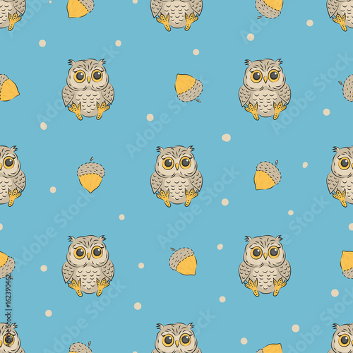 Cute baby owls and acorns seamless pattern. Vector background for kids design.