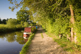 A late summer afternoon on the Shropshire Union canal in England with traditional narrowboats - 162392824