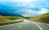 Beautiful panorama with a highway and colorful nature, at sunset, in Greece, Europe