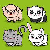 set of cute animals vector illustration graphic design