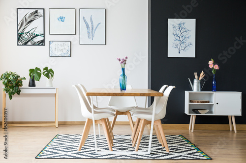 Table standing on carpet