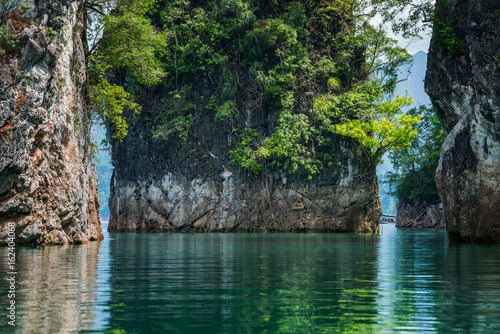 Magical landscape with limestone pillar, Surface level and limestone cliff