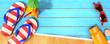 Leinwanddruck Bild - Summer panorama with beach accessories on blue planks
