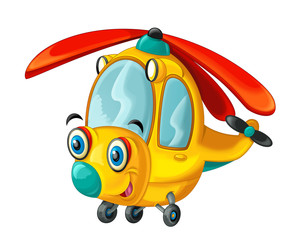 Cartoon happy and fuuny helicopter - illustration for the children