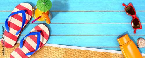 Leinwanddruck Bild Summer panorama with beach accessories on blue planks