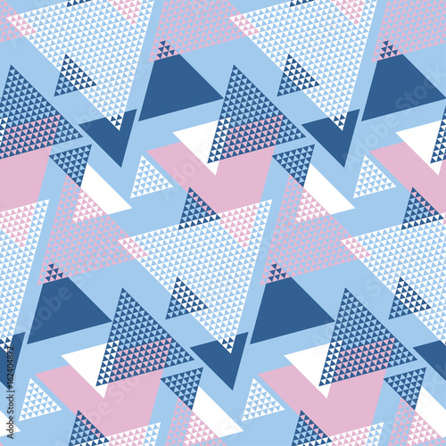 Fototapeta Blu and rosy color geometry modern motif vector illustration. Mosaic triangle seamless pattern for wrapping paper, background, fabric, surface design..