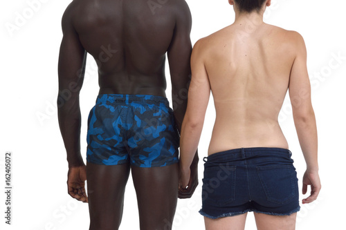 Poster Portrait of a couple backs on white background