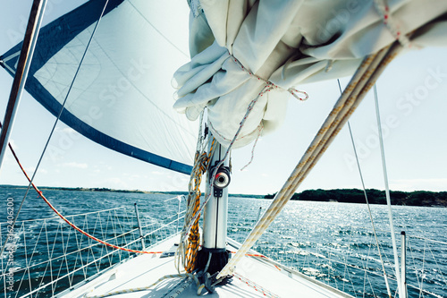 Foto op Aluminium Zeilen Yachting on sail boat during sunny weather