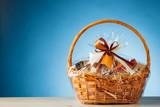 gift basket on blue background - 162409280