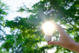 Woman hands holding light bulb with solar energy or thermal energy concept. - 162409615