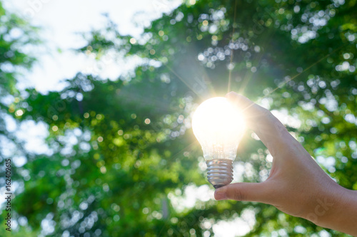 Woman hands holding light bulb with solar energy or thermal energy concept Poster