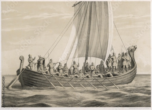 Viking Ships. Date: 9th - 10th centuries Poster