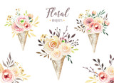 Hand drawing isolated boho watercolor floral illustration with leaves, branches, flowers. Bohemian greenery art in vintage style. Elements for wedding card. - 162412812