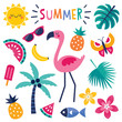 set of colorful summer elements with pink flamingo isolated