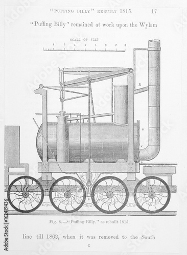 Puffing Billy  Hedley's improved Wylam engine. Date: 1815 Poster