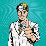 ENT doctor medicine and health. Pop art retro style. Thumb up expresses success