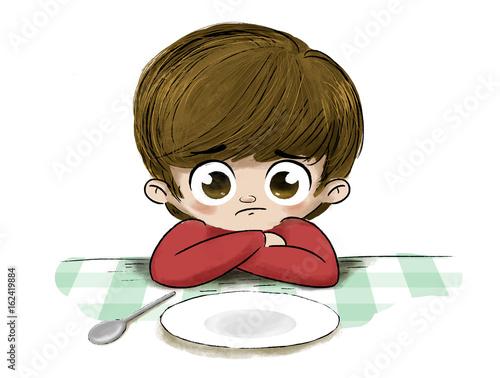 Niño triste sin comida