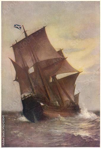 Fotobehang Zeilen The Mayflower: transporting Pilgrim Fathers to New World.. Date: 1620