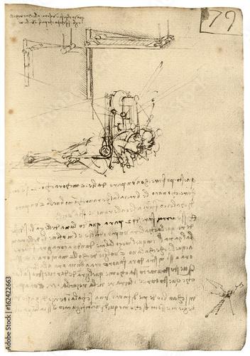 Leonardo Flying Machine. Date: circa 1500 Poster